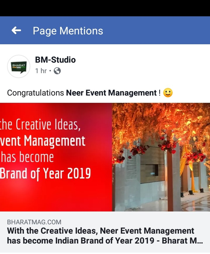 Neer Event Management-Indian Brand of Year 2019