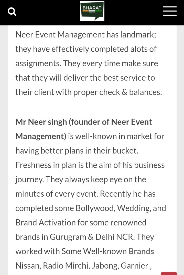 Neer Singh- Neer Event Management Company's Owner